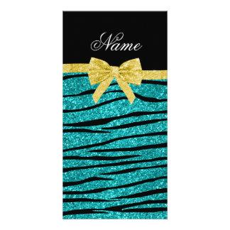 Custom name turquoise glitter zebra stripes bow photo card template
