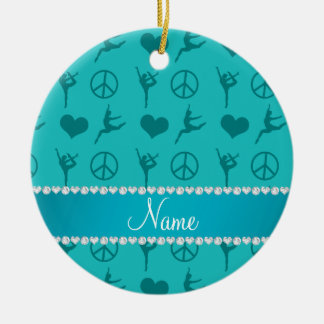 Custom name turquoise gymnastics hearts peace sign christmas ornament