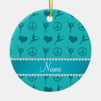 Custom name turquoise gymnastics hearts peace sign round ceramic decoration