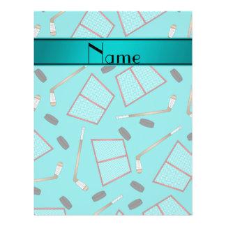 Custom name turquoise hockey sticks pucks nets 21.5 cm x 28 cm flyer