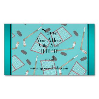 Custom name turquoise hockey sticks pucks nets magnetic business cards