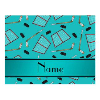 Custom name turquoise hockey sticks pucks nets postcard