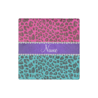 Custom name turquoise hot pink leopard stone magnet