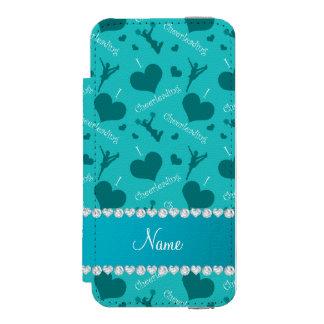 Custom name turquoise i love cheerleading hearts incipio watson™ iPhone 5 wallet case