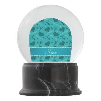 Custom name turquoise i love cheerleading hearts snow globes