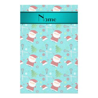 Custom name turquoise lacrosse christmas pattern custom stationery