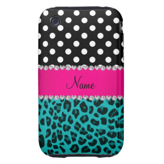 Custom name turquoise leopard black dots tough iPhone 3 case