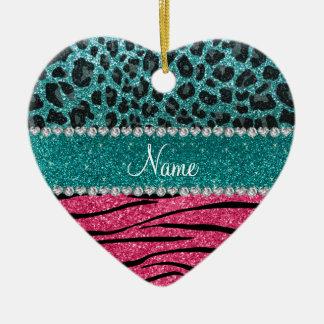 Custom name turquoise leopard pink glitter zebra christmas ornament