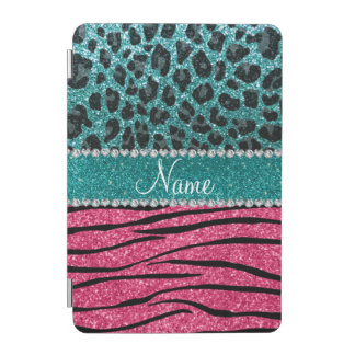 Custom name turquoise leopard pink glitter zebra iPad mini cover