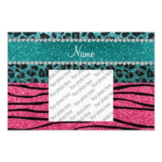 Custom name turquoise leopard pink glitter zebra photograph