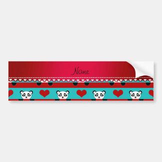 Custom name turquoise panda red heart stripes bumper sticker
