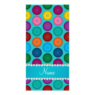 Custom name turquoise rainbow buttons pattern customized photo card