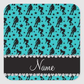 Custom name turquoise roller derby stars square sticker