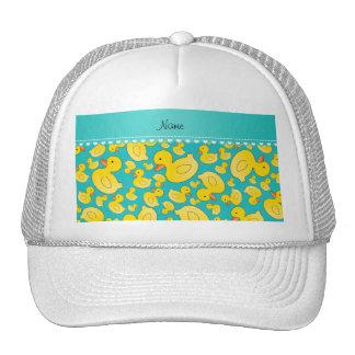 Custom name turquoise rubberducks heart stripe cap