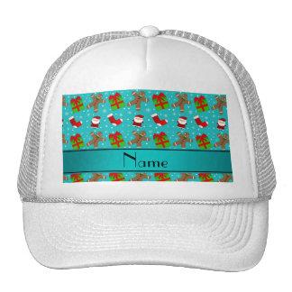 Custom name turquoise santas gingerbread trucker hat