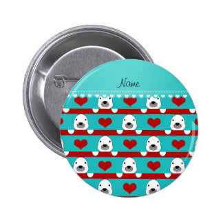 Custom name turquoise seals red hearts stripes 6 cm round badge