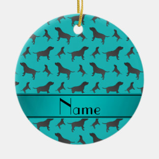 Custom name turquoise Staffordshire Terrier dogs Round Ceramic Decoration