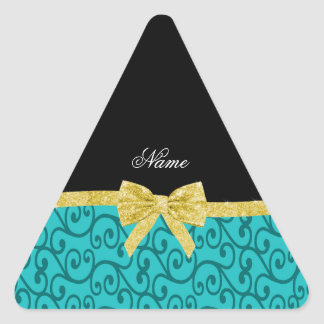 Custom name turquoise swirls gold bow triangle stickers