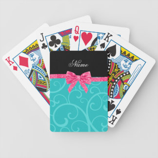 Custom name turquoise swirls pink glitter bow bicycle playing cards