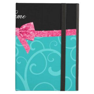 Custom name turquoise swirls pink glitter bow iPad covers