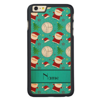 Custom name turquoise volleyball christmas pattern iPhone 6 plus case