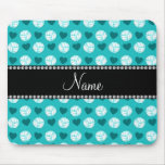 Custom name turquoise volleyballs and hearts mousemat