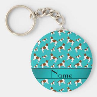 Custom name turquoise Welsh Springer Spaniel dogs Basic Round Button Key Ring