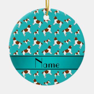 Custom name turquoise Welsh Springer Spaniel dogs Round Ceramic Decoration