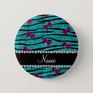 Custom name turquoise zebra stripes pink bows 6 cm round badge