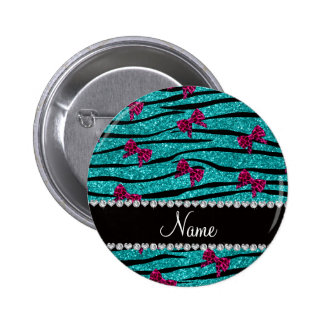 Custom name turquoise zebra stripes pink bows pinback button