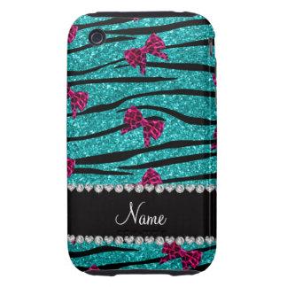 Custom name turquoise zebra stripes pink bows tough iPhone 3 cases