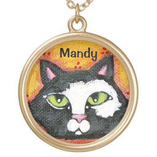 Custom Name Tuxedo Cat Necklace