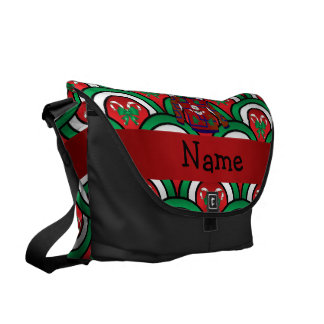 Custom name ugly christmas sweater candy canes commuter bags