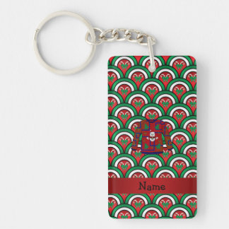Custom name ugly christmas sweater candy canes Double-Sided rectangular acrylic key ring