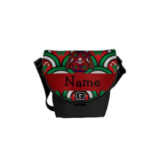 Custom name ugly christmas sweater candy canes messenger bags