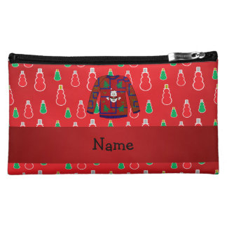 Custom name ugly christmas sweater red snowmen cosmetics bags