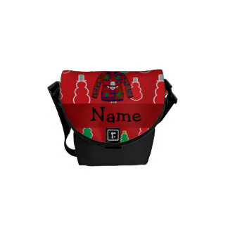 Custom name ugly christmas sweater red snowmen messenger bags
