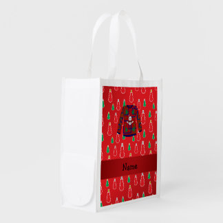 Custom name ugly christmas sweater red snowmen grocery bag