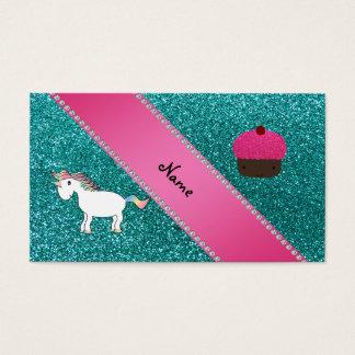 Custom name unicorn cupcake turquoise glitter business card
