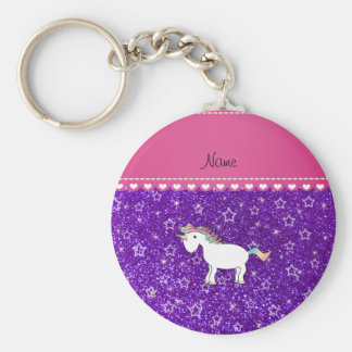 Custom name unicorn indigo purple glitter stars basic round button key ring