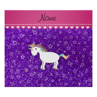 Custom name unicorn indigo purple glitter stars print