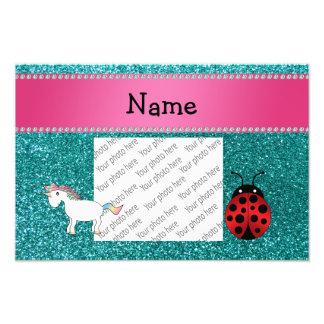 Custom name unicorn ladybug turquoise glitter art photo