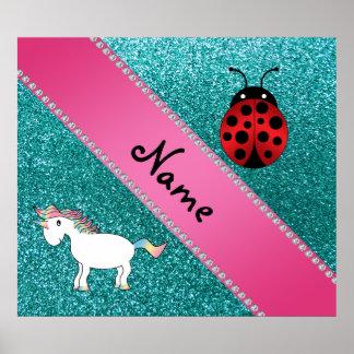 Custom name unicorn ladybug turquoise glitter poster