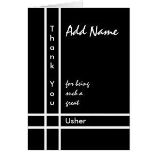 Custom Name - Usher Wedding Thank You Greeting Card