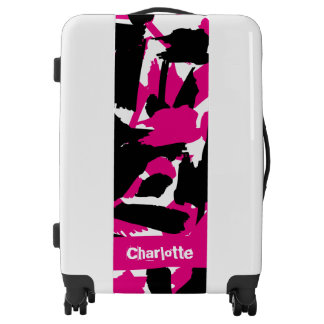 Custom Name Vibrant Brushstroke Pattern Luggage