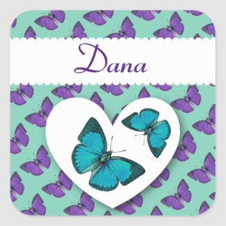 Custom Name Vintage Butterflies TEAL and PURPLE V1 Square Stickers