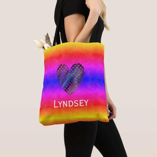 Custom Name Vivid Rainbow Valentine Heart Tote Bag