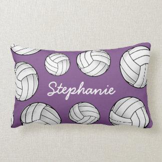 Custom Name Volleyball Purple Lumbar Cushion