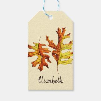 Custom Name Watercolor Dancing Autumn Leaves Gift Tags