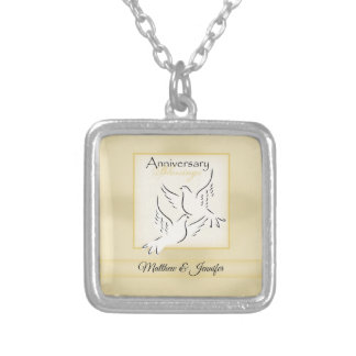 Custom Name, Wedding Anniversary Blessings Silver Plated Necklace